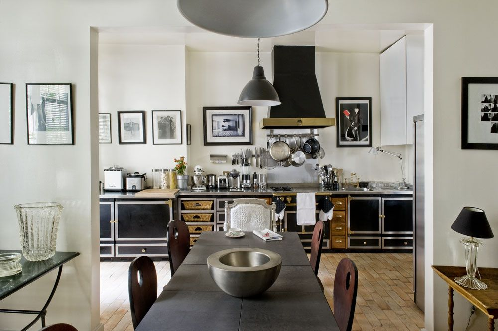 find endless intrigue in a french designers layered home the cornuebrass kitchenkitchen