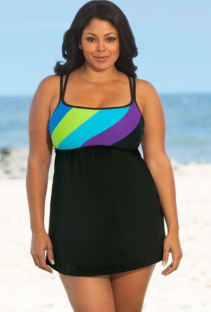 70a7891d22450 Delta Burke Blue Perfect Angle Plus Size Cross Back Swimdress ...
