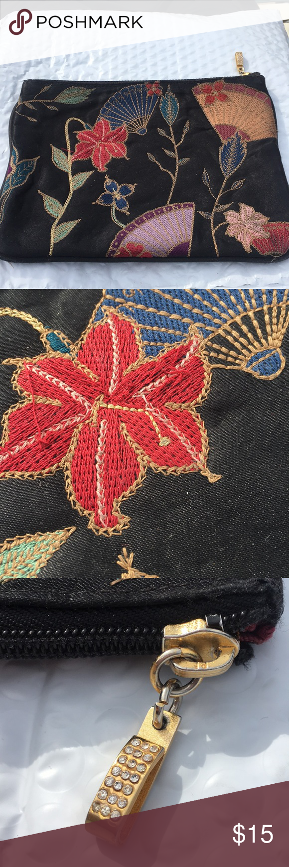 Americana Black with embroidered flower design