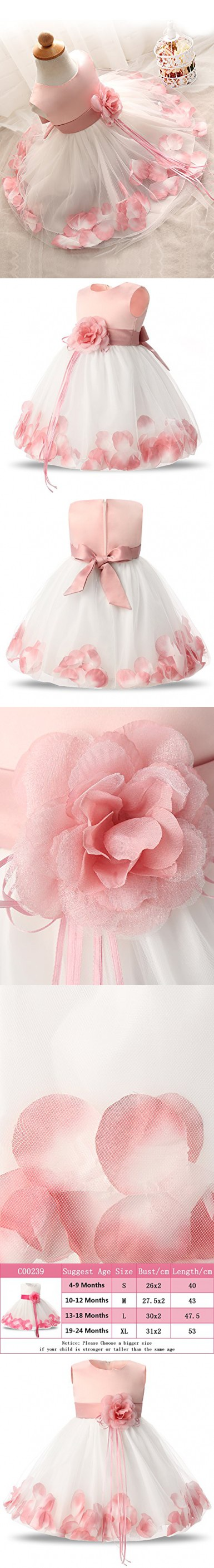 1527cf5b197 NNJXD Girl Tutu Flower Petals Bow Bridal Dress for Toddler Girl Size 4-9  Months