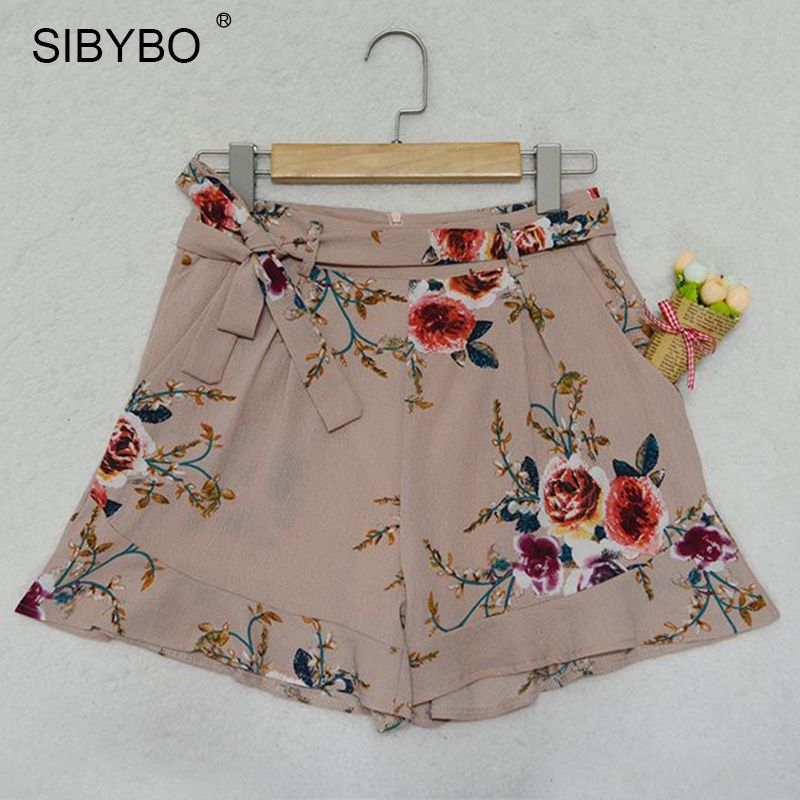 $22.98 - Sibybo High Waisted Shorts Women Floral Printed Summer Ruffle Shorts Sexy Short Femi...