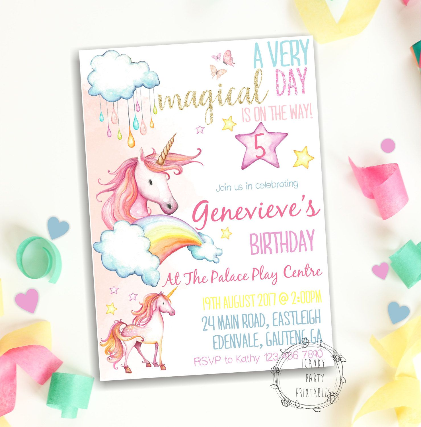Unicorn Invitation Pastel Rainbow Unicorn Invite Unicorn Party