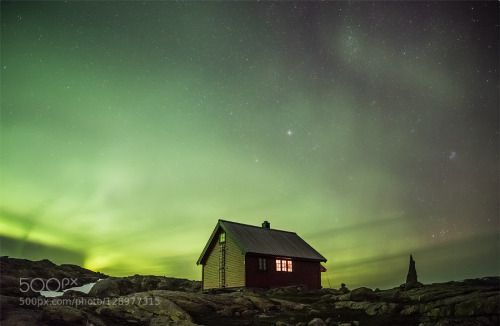 Dancing by espenhaagensen  Stølsheimen Aurora Bergen og hordaland turlag Cairn DNT Fall Hut Illuminated hut Northern lights Nor