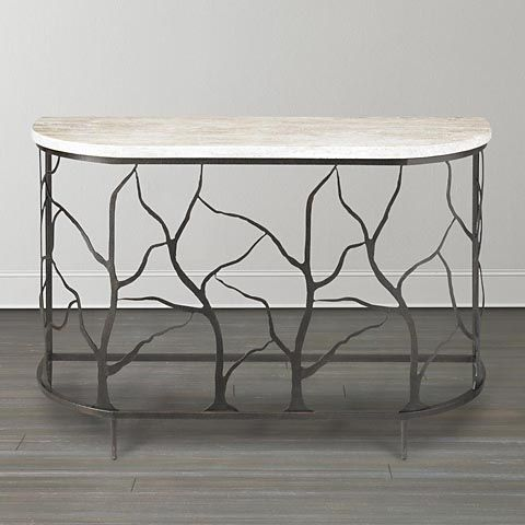 Seabrook Twig Console Table Bassett $599 Clearance W48 H29 D17 Iron Twig  Base W Travertine Stone