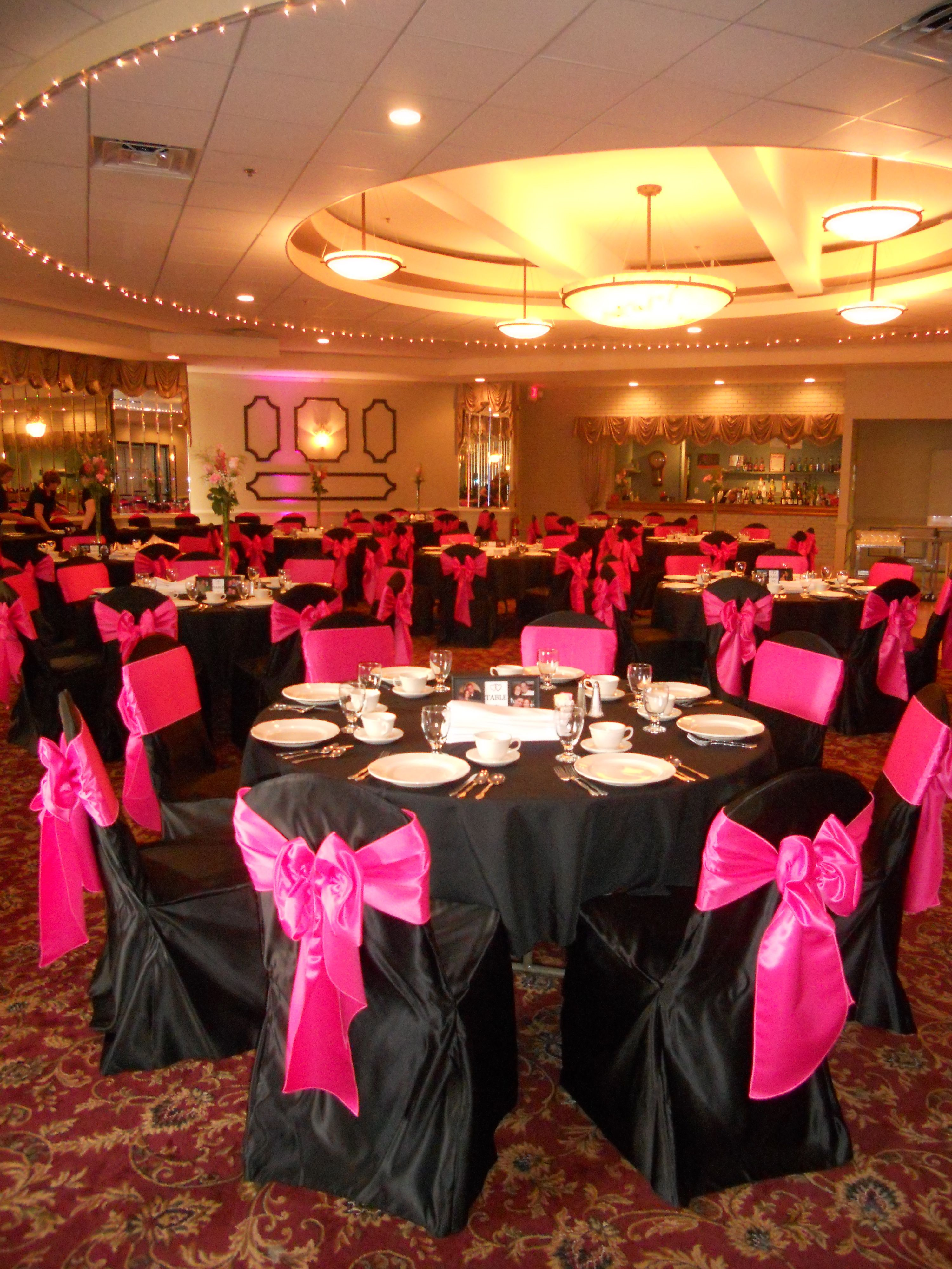 Black Chair Covers With Hot Pink Bow Ties Black Chair Covers