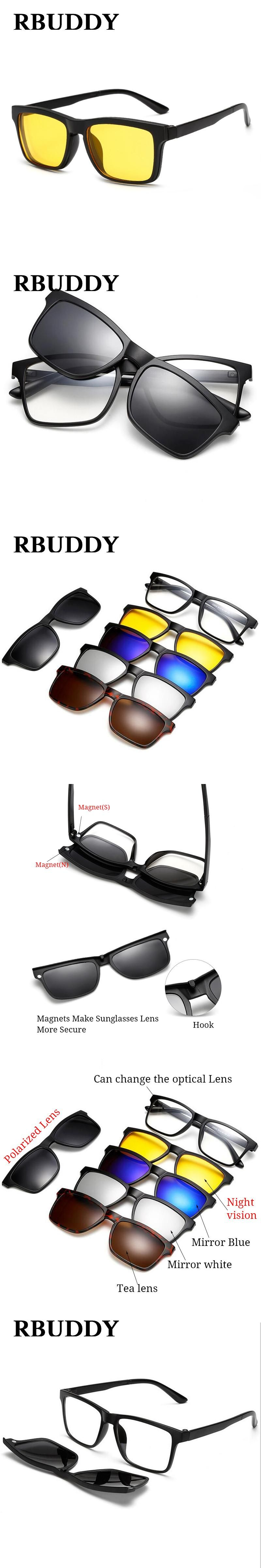 5833351773 RBUDDY Magnet Sunglasses Men Polarized clip on sunglasses Driving Square  women clear glasses frame Night vision goggles glasses
