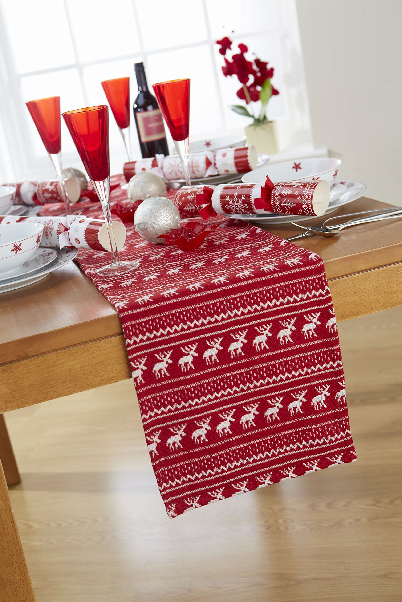 Nordic Red White Christmas Table Runner 12x70in 30x177cm Approx Christmas Table Linen Red White Christmas Table Runners