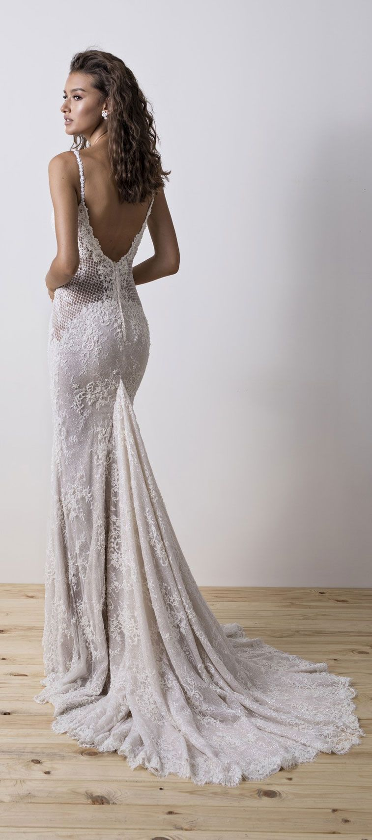Spaghetti straps sweetheart neckline fit and flare wedding