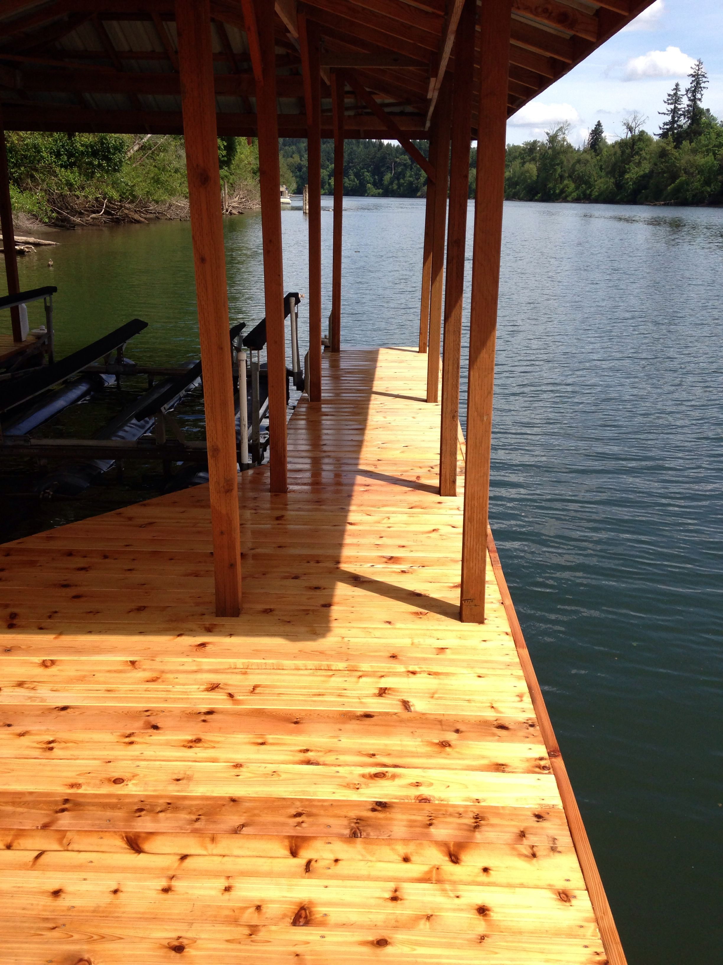 Custom boat dock on the willamette river in oregon built