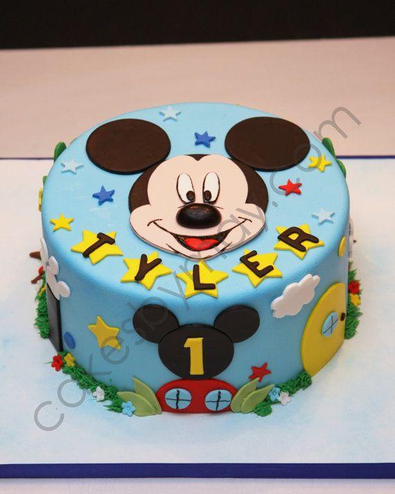 CUSTOM ORDER Mickey Mouse Fondant Cake Topper baby Pinterest