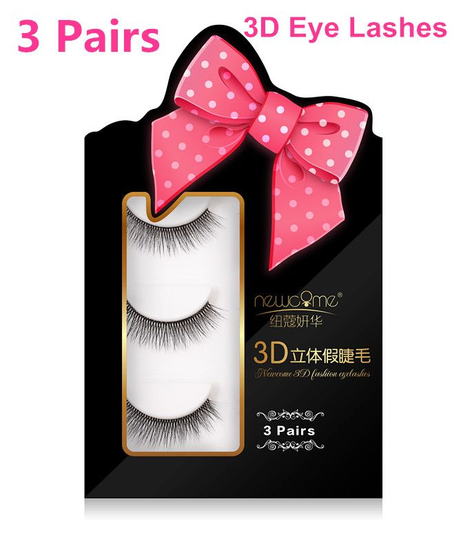 8d701e2bfd7 3 Pairs 100% handmade real mink fur false eyelash 3D strip mink lashes thick  fake faux eyelashes Makeup Beauty False Eyelash