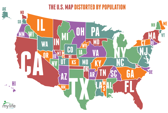 The US Map Distorted By Population Geography Brain Teaser - Us map 1800s
