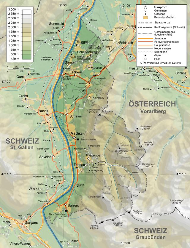 Liachtaschta Alemannische Wikipedia Topographic Map Map Liechtenstein