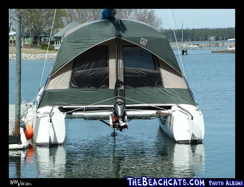 A big Tent on a Stiletto catamaran, tent floor removed