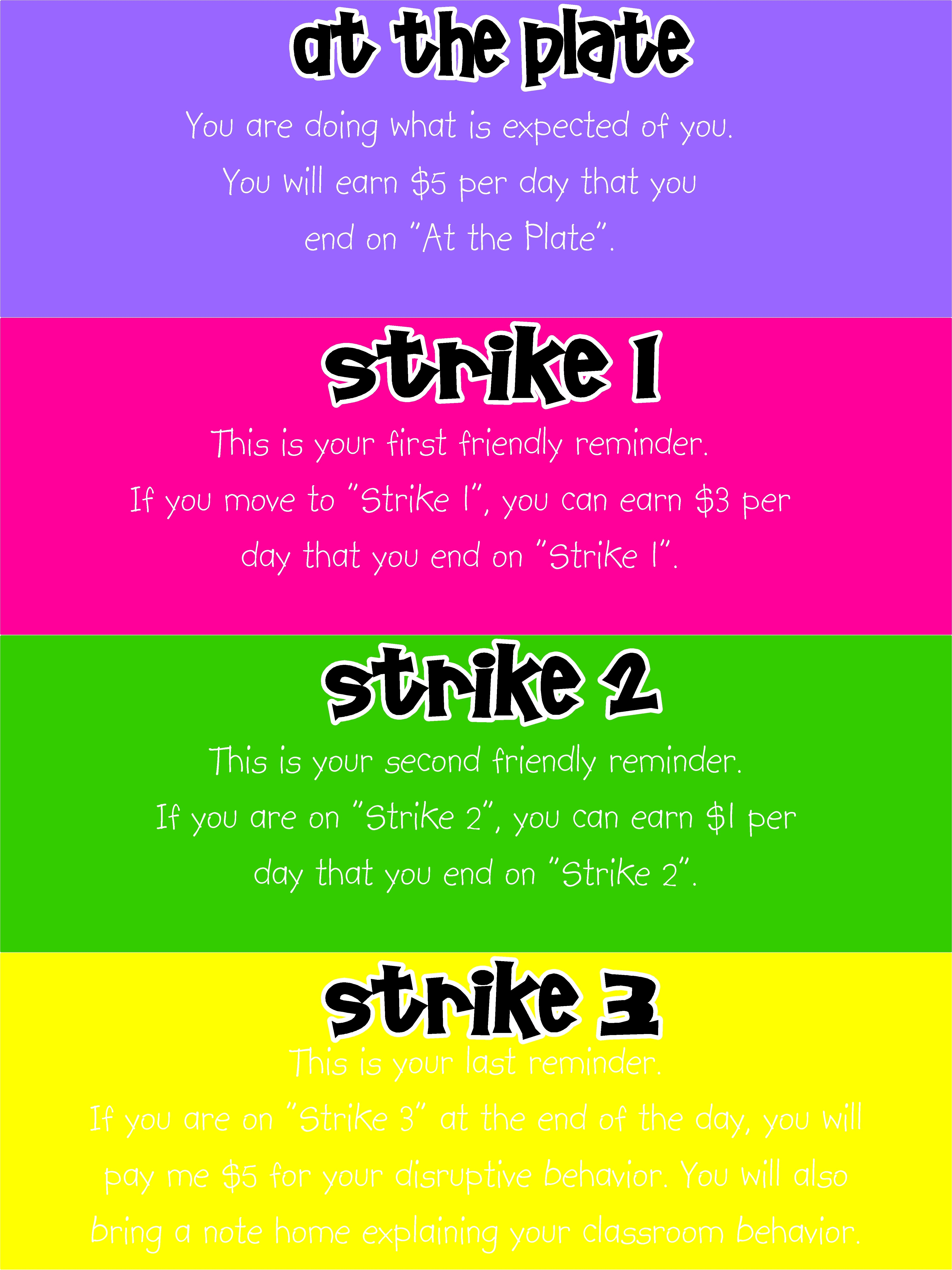 3 strike clip chart with postcard responses for parent communication ...