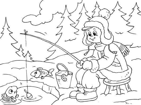 all bundled up for some ice fishing a cute winter coloring page more