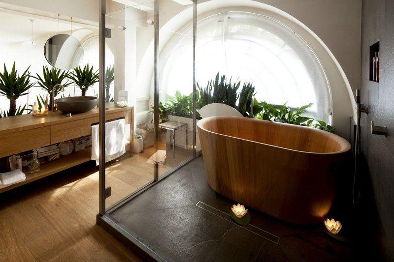 Salle de bain moderne - les tendances actuelles en 55 photos - teck salle de bain sol