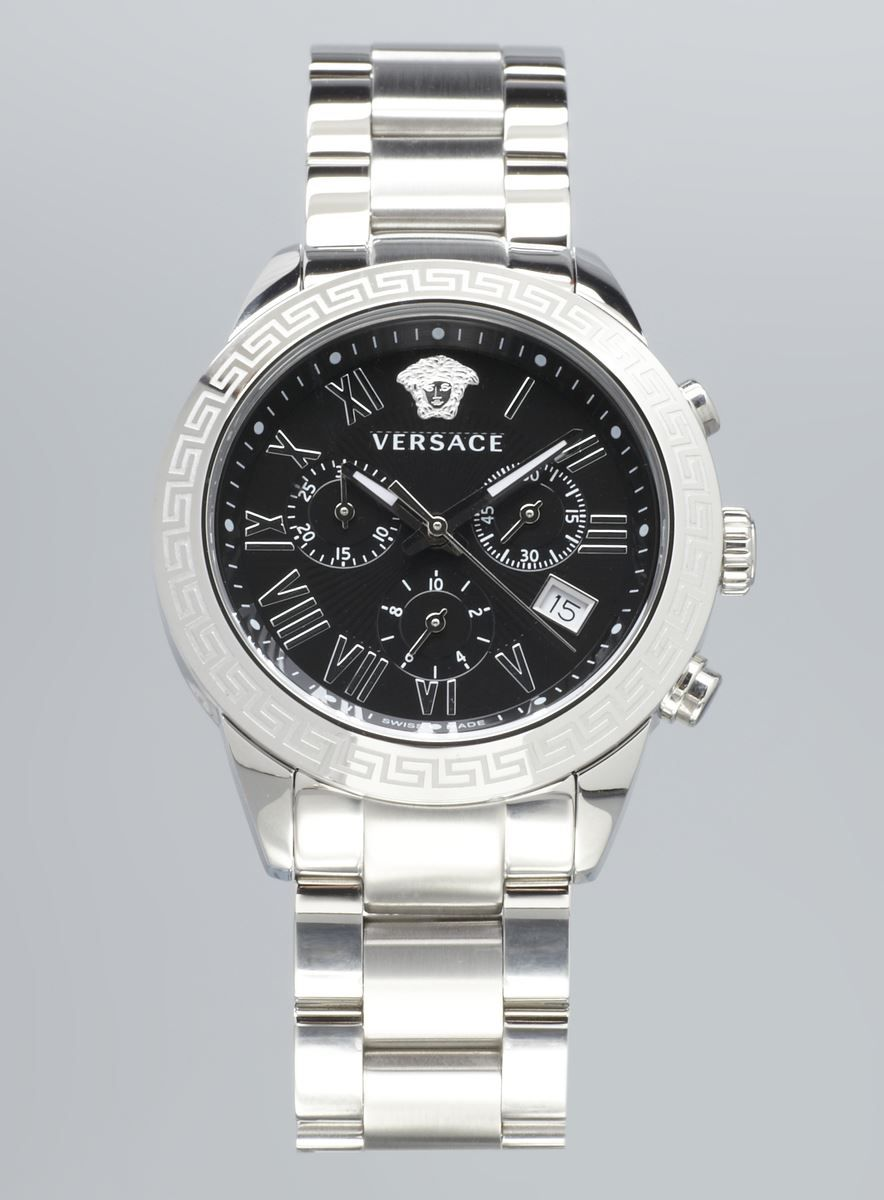 Versace mens black face chronograph stainless steel diamond watch