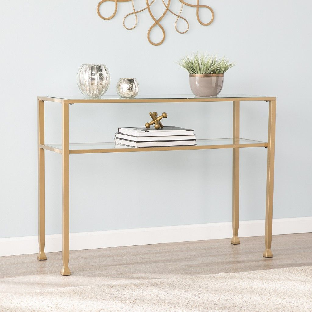 Jaymes Gold Metal And Glass Console Table Southern Enterprises Ck5773 In 2021 Glass Console Table White Console Table Transitional Console Tables