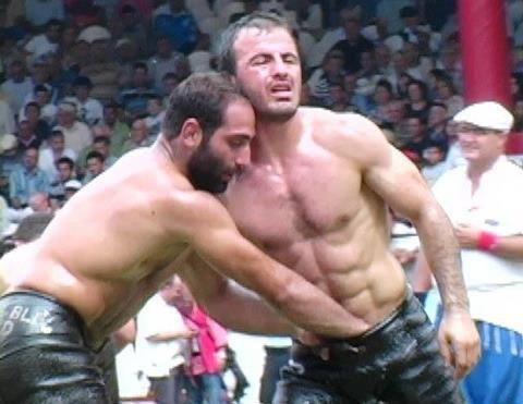 Big breasted oil wrestling