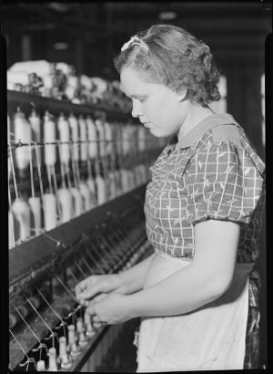 Wool Spinning Mills | Spinner at Pickett Yarn Mill, ca. 1941