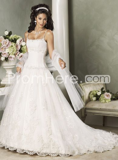 US $187.39 Pretty A-line Spaghetti Straps Floor-length Chapel Embroidery Wedding Dresses