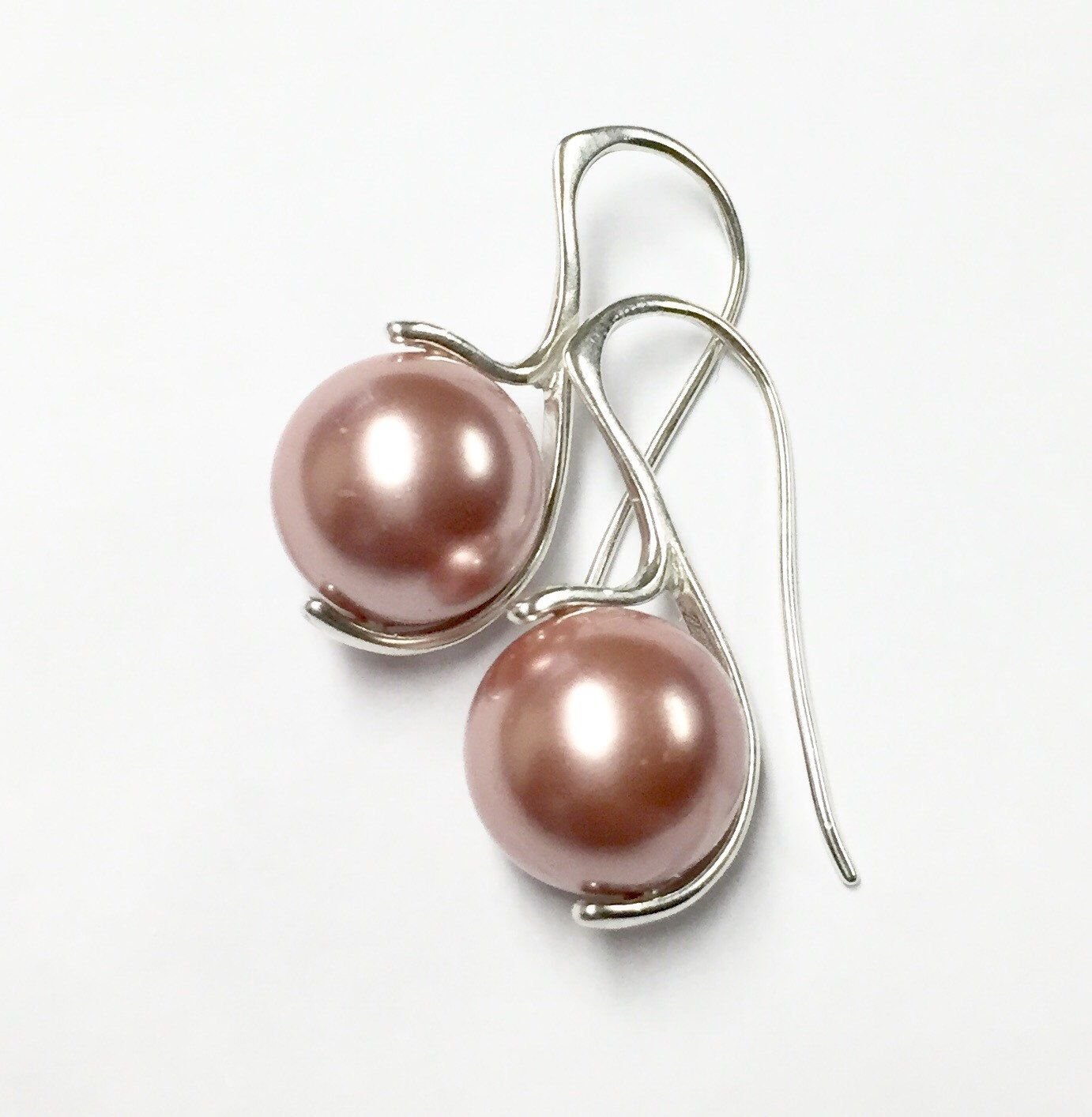 Pink pearl earrings, Tahitian pearl earrings, sterling silver pearl ...