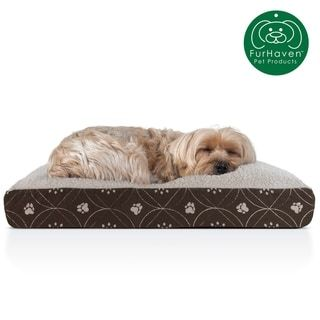 FurHaven Pet Bed | Faux Sheepskin & Flannel Paw Decor Print Deluxe Pillow Dog Bed (Medium - Jade Green)