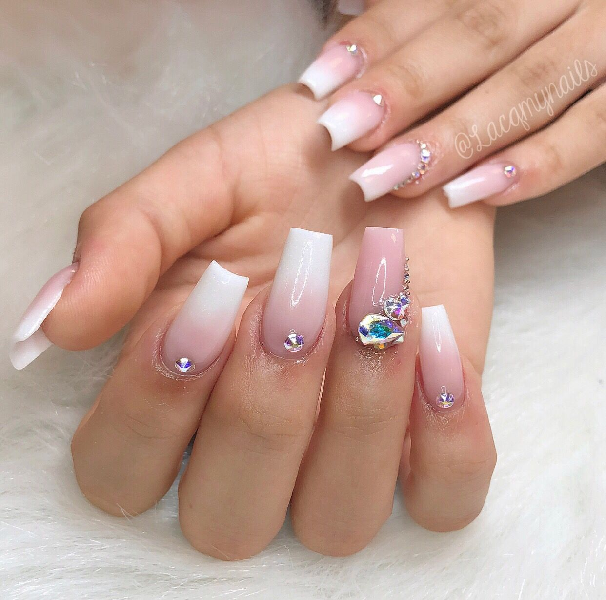 Sooo Gorgeous And Classy Ombre Acrylic Nails Swarovski Nails Coffin Nails Designs