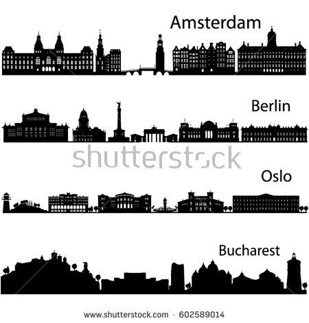Berlin Oslo Bucharest Amsterdam Detailed Cities Silhouette In Vector Format Collection Of City Skyl City Silhouette City Skyline Silhouette Skyline Silhouette