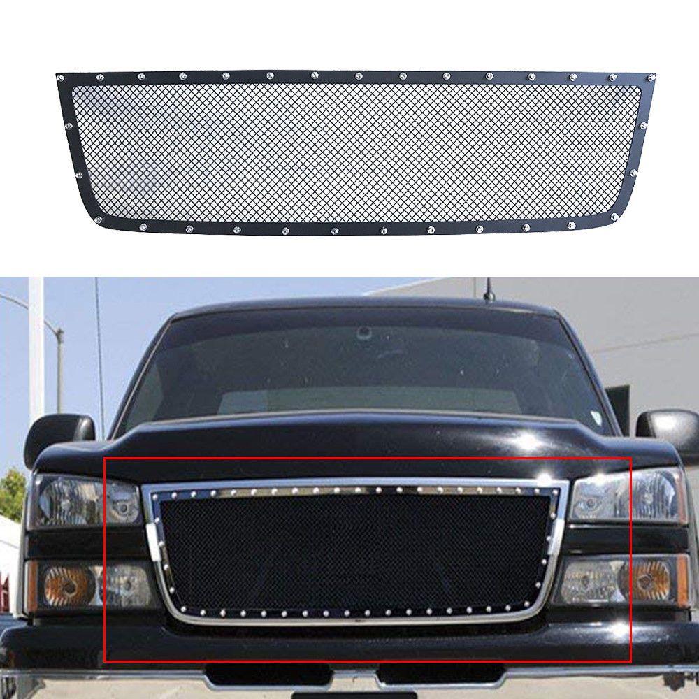 Aluminum Mesh Main Upper Grille Insert Black For 05 06 Chevy Silverado 1500 2500 Chevy Silverado 1500 Chevy Silverado Grille Inserts