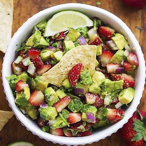 Strawberry Avocado Salsa!  . Made by Tiffany @cremedelacrumb1 . What you need: . 1 lb strawberries, hulled and diced 2 large avocados, pitted and diced ½ red onion, diced 1-2 jalapeños, seeded and very finely chopped juice of ½ lime ½ tsp salt ¼ tsp garlic powder ⅓ cup cilantro leaves, roughly chopped tortilla chips, for serving . How you make it: . combine all ingredients (Besides chips) in a bowl and stir to combine. Be sure to stir gently so you don't smash the avocados. Taste,