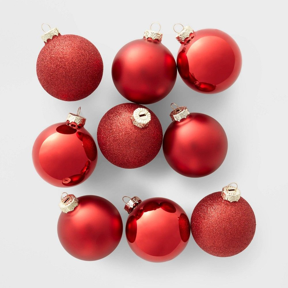 9ct Glass Round Christmas Ornament Set Red