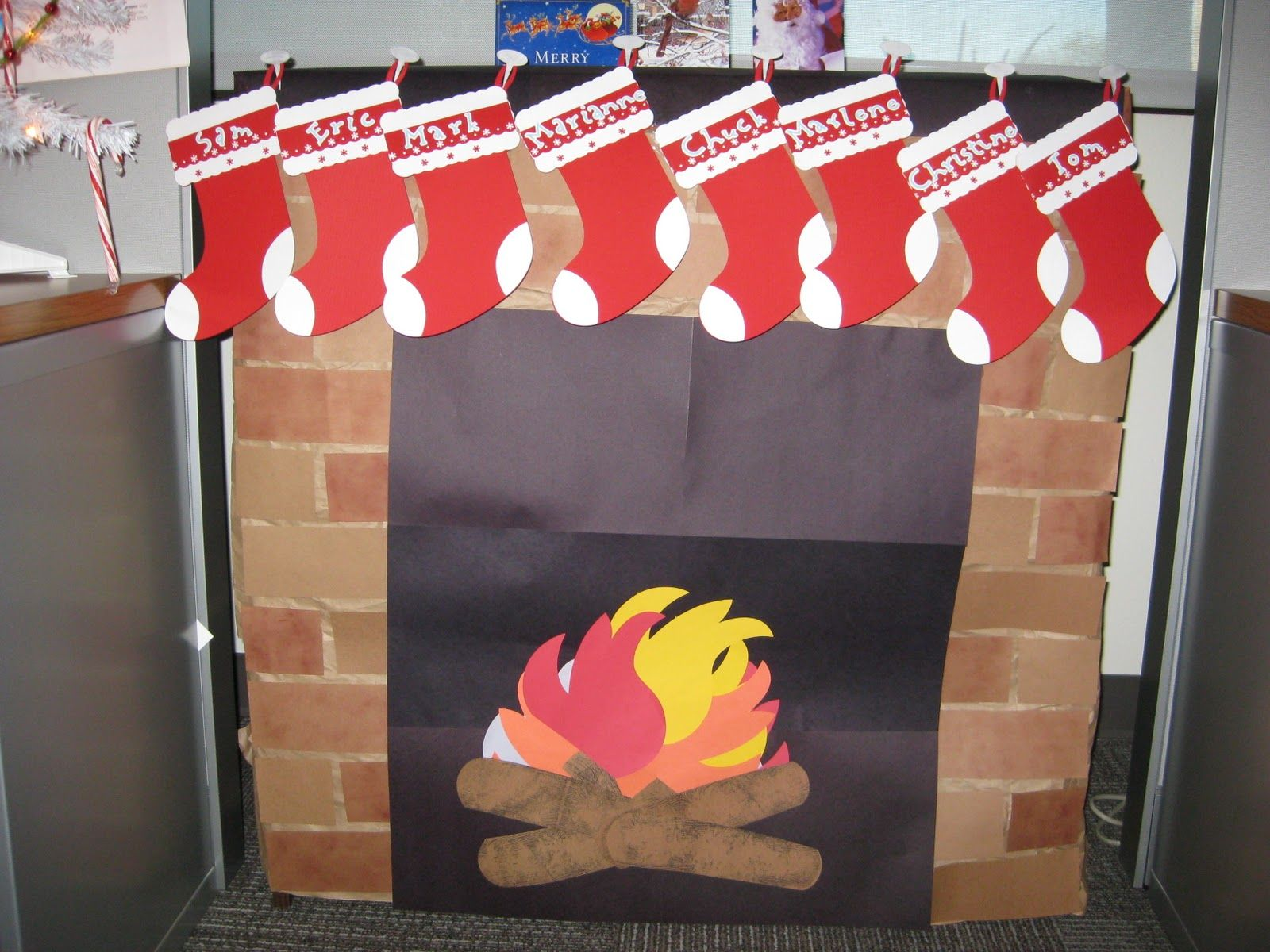 Next year, I want to make one of these for Christmas in my classroom, using the bookshelf... the stockings would have famous artists' names on them