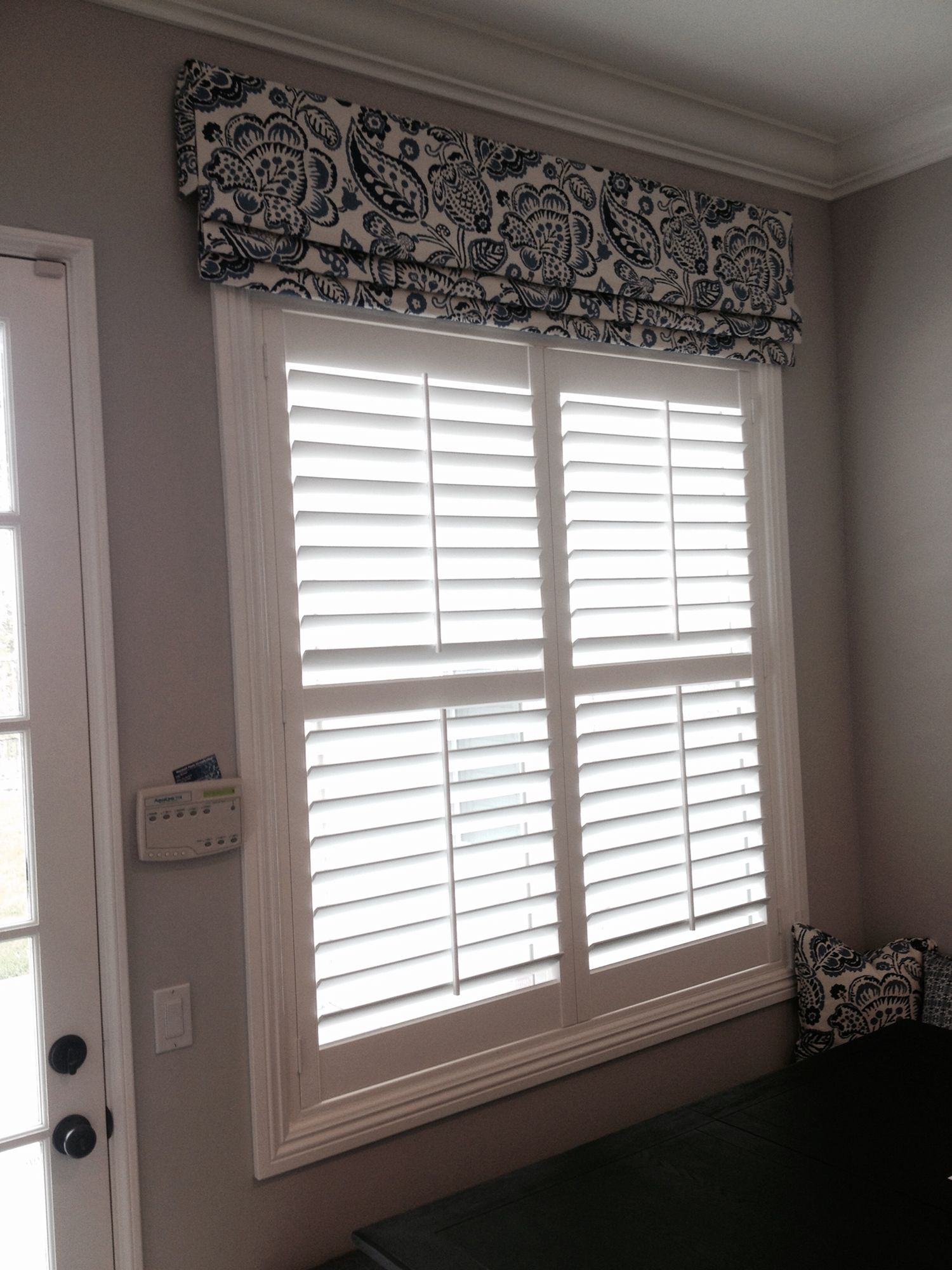 Hunter Douglas New Style Shutter With Fabric Valance Shutters With Curtains Valance Window Treatments Window Treatments Living Room #shutters #in #living #room