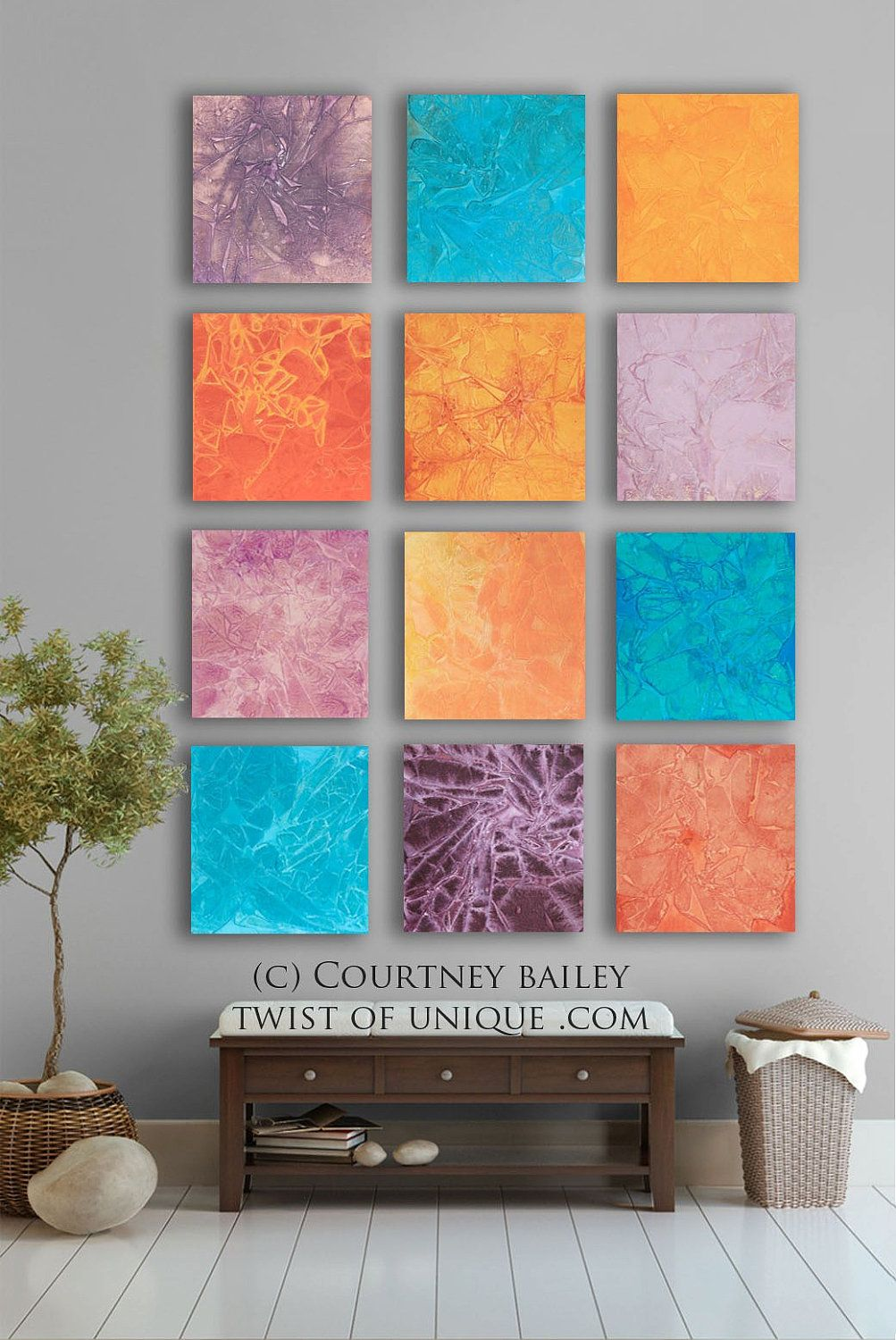 Southwest Bold abstract Painting, 12 square ORIGINAL abstract artwork, abstract wall art,- Orange, pink, blue, coral, red, yellow.