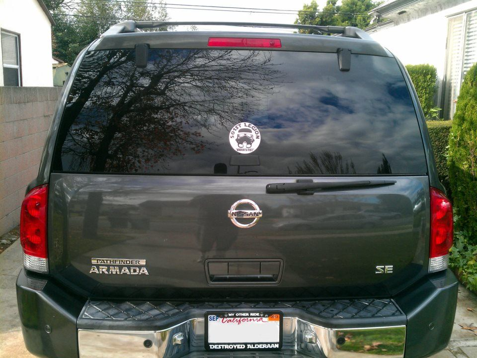 rocking the star wars destroyed alderaan license plate frame and 501st stormtrooper decal from www
