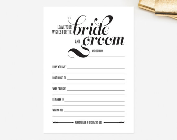 Wedding Mad Libs Card Leave Your Wishes For The Bride And Groom