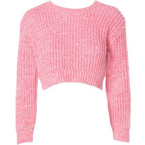 Pink Flecked Knit Cropped Jumper