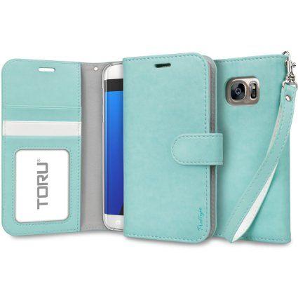 Amazon Com Galaxy S7 Edge Case Toru Prestizio Wallet S7 Edge Wallet Case With Card Slot Id Holder Kickstand Wrist Strap Premium Wristlet Leather Flip