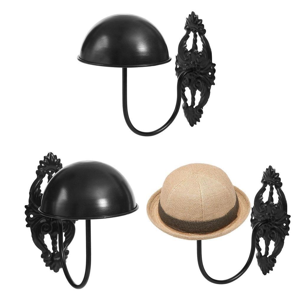 Vintage Design Black Metal Hat Rack Cap Wig Holder Wall Mount Display Holder New Mygift Hat Display Black Metal Vintage Designs