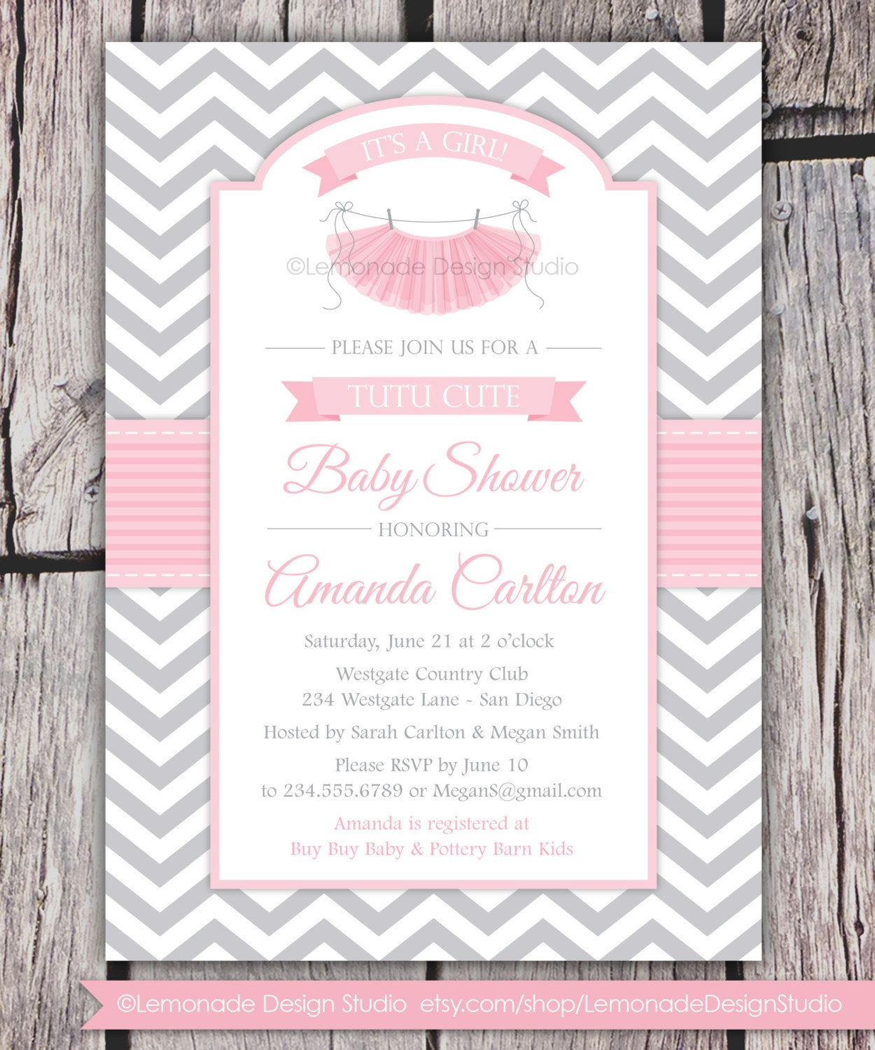 Babyshowerinvitation Tutu Cute Baby Shower Invitation Chevron Pink Grey Any Colors Party Modern Pritable Diy Or