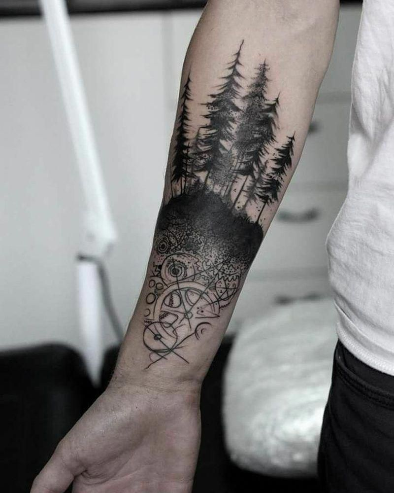 Forest Tattoo Symbolic Meaning Attractive Design Ideas Small Life Subtle Palmtree Armbandtattoo Sun Mountain Forest Tattoos Arm Band Tattoo Tattoos