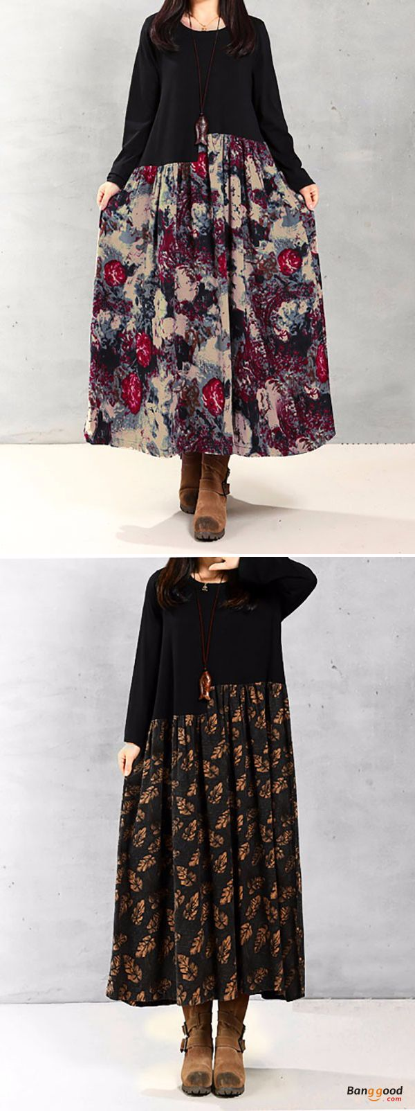 Vintage women floral printed patchwork long sleeve maxi dress long