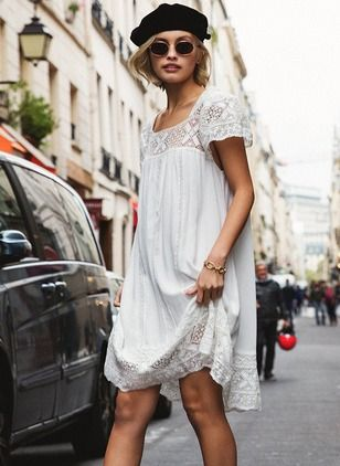 Knee Length White Bohemian Dress