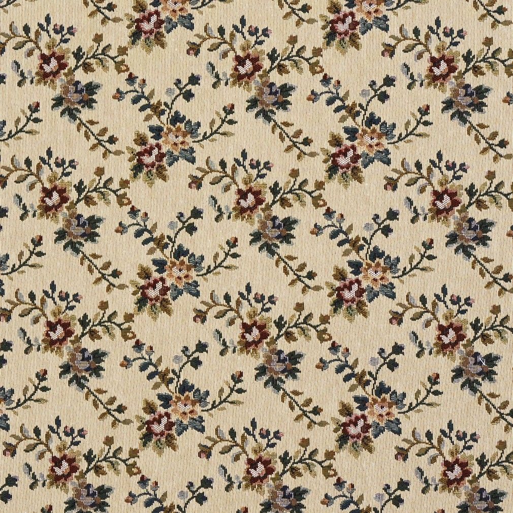 F674 Beige Red And Green Floral Vine Tapestry Upholstery Fabric By