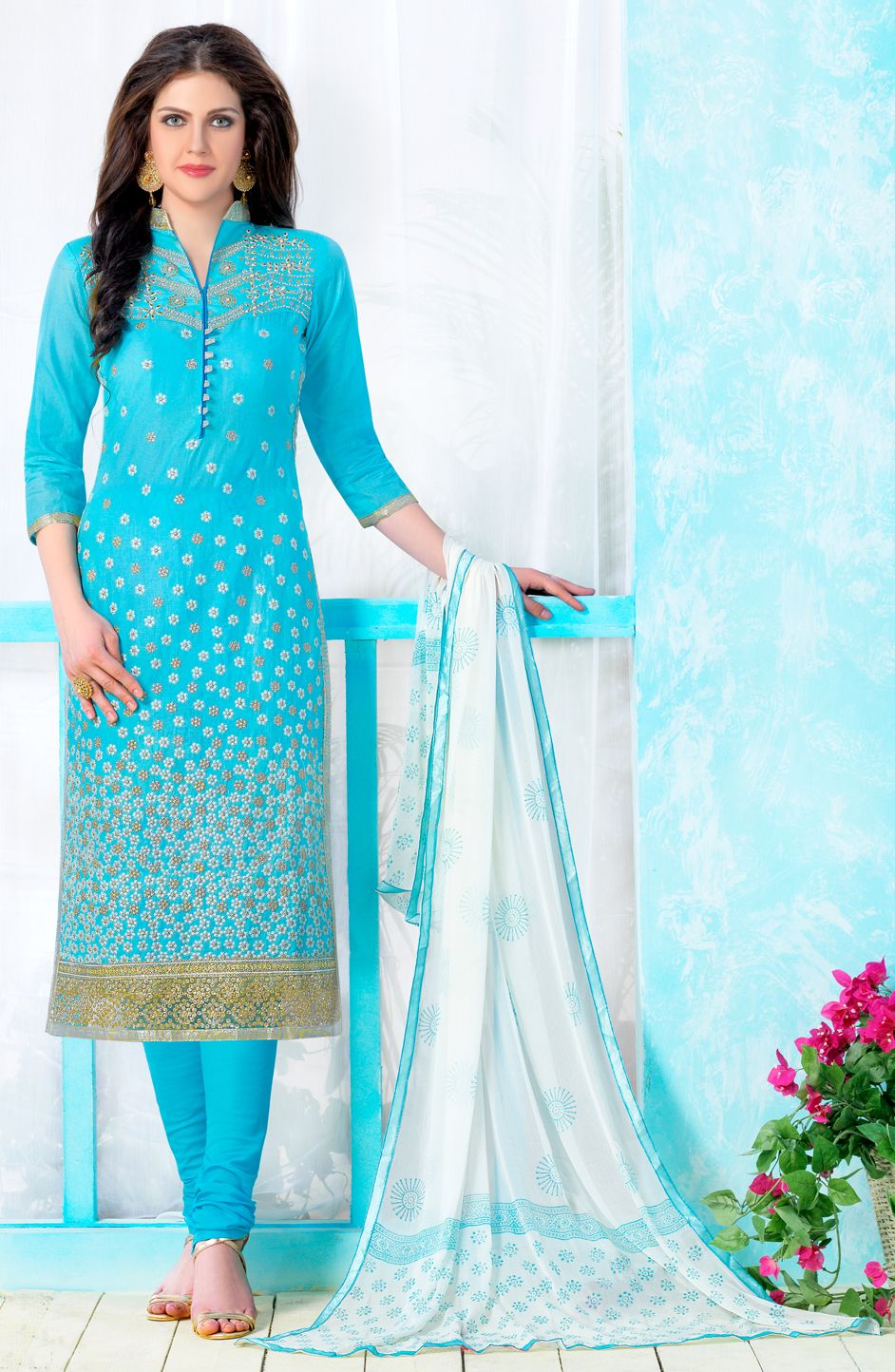 3e4d42c53e 472791 Blue color family Cotton Salwar Kameez, Party Wear Salwar Kameez in  Cotton fabric with Lace, Machine Embroidery, Resham, Thread work .