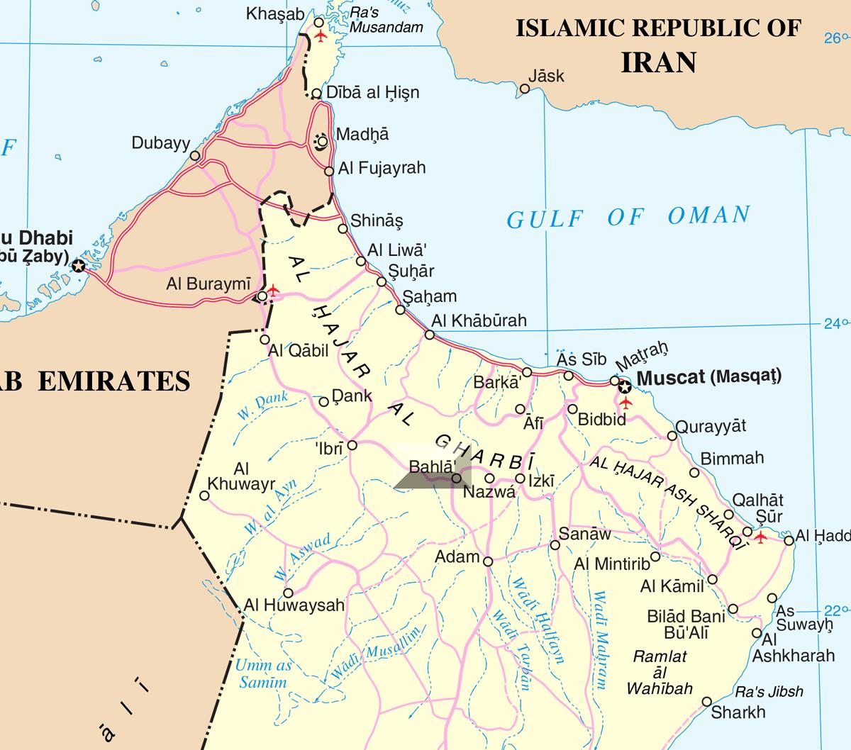 Oman Bahla Oman Muscat Map