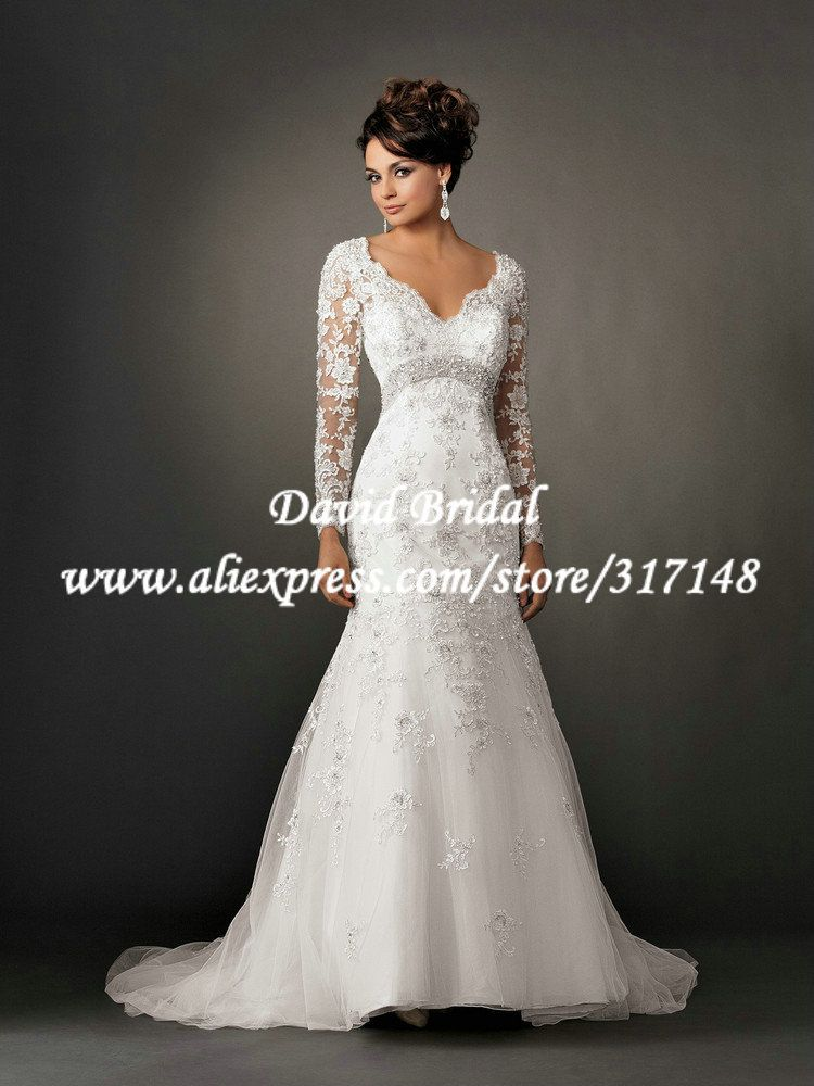 EF1415 Appliques Mermaid Open Back Vintage Lace Long Sleeve Wedding Dress Keyhole 20751