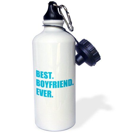 3dRose Blue Best Boyfriend Ever text anniversary valentines day gift for him, Sports Water Bottle, 21oz